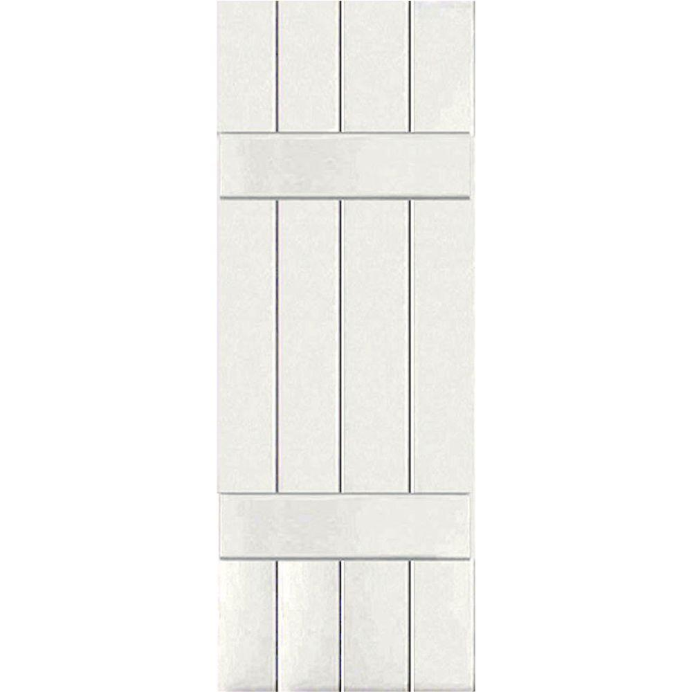 Ekena Millwork 15 in. x 56 in. Exterior Real Wood Sapele Mahogany Board and Batten Shutters Pair White