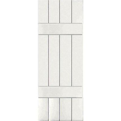 15 in. x 59 in. Exterior Real Wood Pine Board and Batten Shutters Pair White