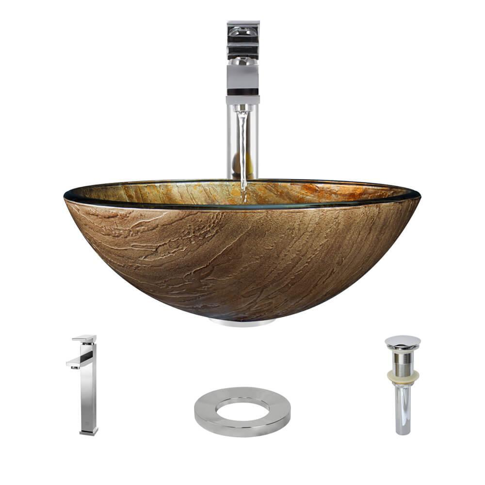 Glass Vessel Sink in Bronze Hues with R9-7003 Faucet and Pop-Up