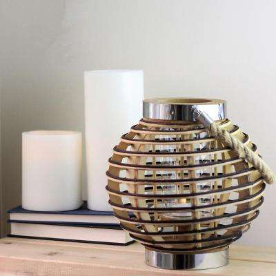 9.5 in. Rustic Chic Rattan Lantern Candle Holder