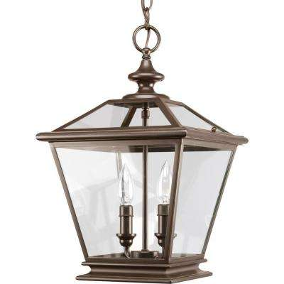 Crestwood Collection 2-Light Antique Bronze Foyer Pendant with Clear Glass