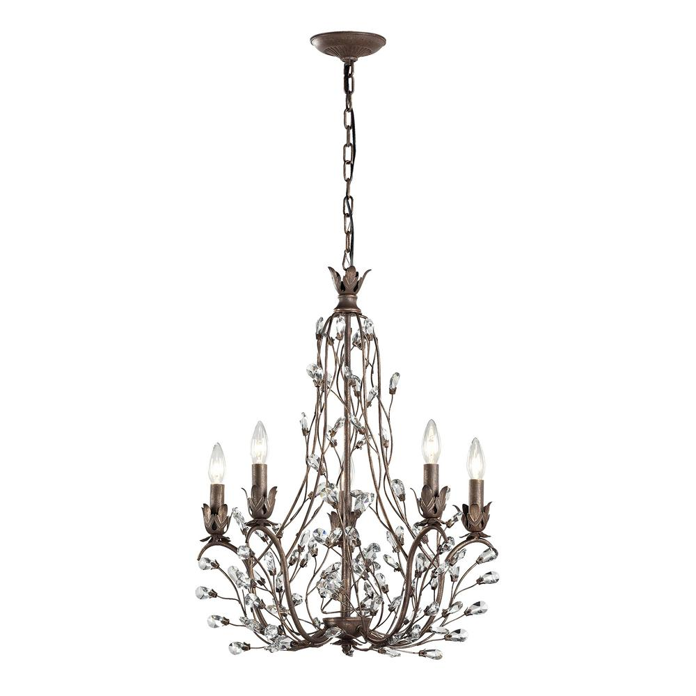An Lighting Sagemore 5 Light Bronze Rust With Clear Crystal Chandelier