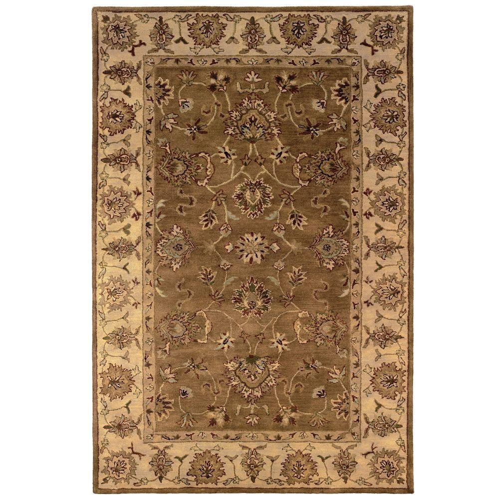 Linon Home Decor Rosedown Collection Umber and Pale Gold 9 ft. x 12 ft. Indoor Area Rug