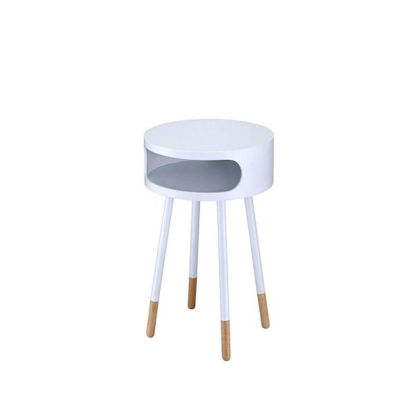 White and Natural Round End Table