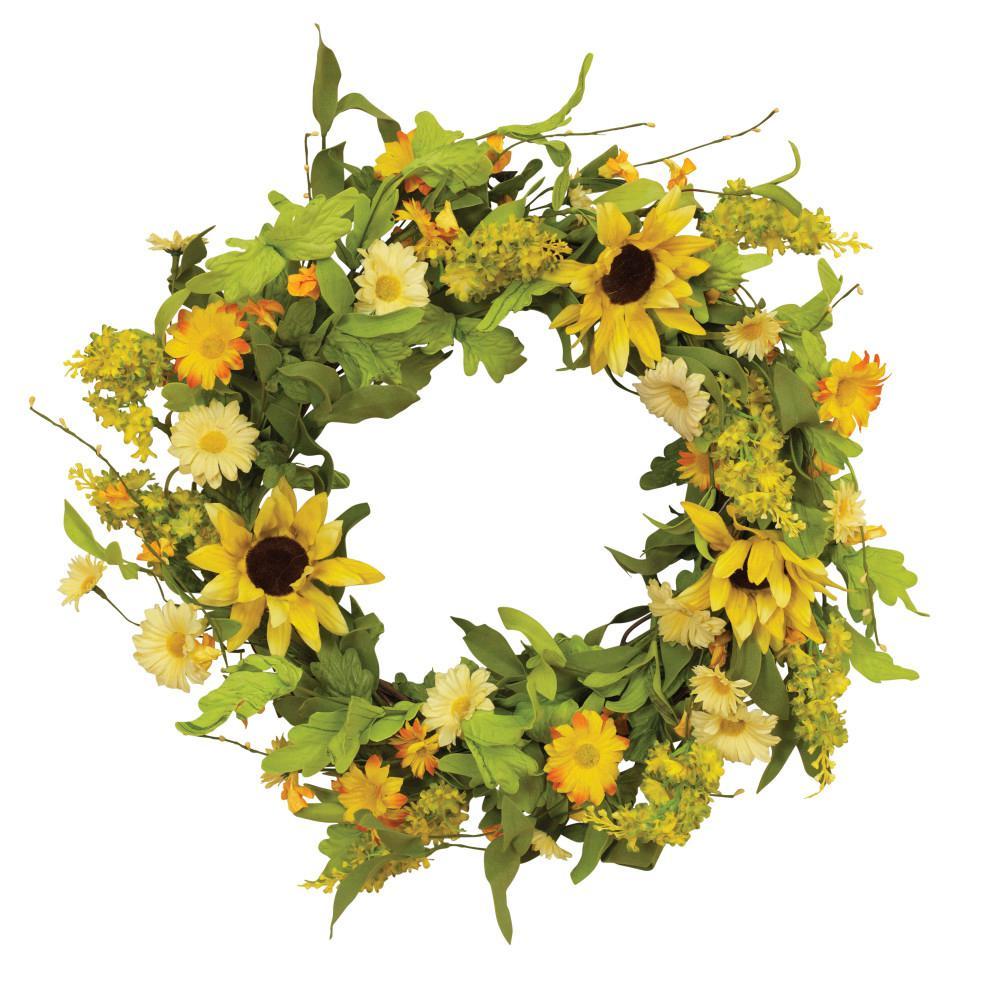 Gerson 24 in. Natural Twig Sunflower Wreaths (2-Set)