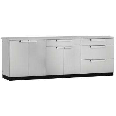 Stainless Steel Classic 4-Piece 97x36x24 in. Outdoor Kitchen Cabinet Set with Covers
