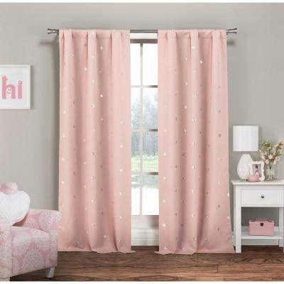 Rebeccah 37 in. W x 84 in. L Polyester Window Panel in Pretty Pink-Silver