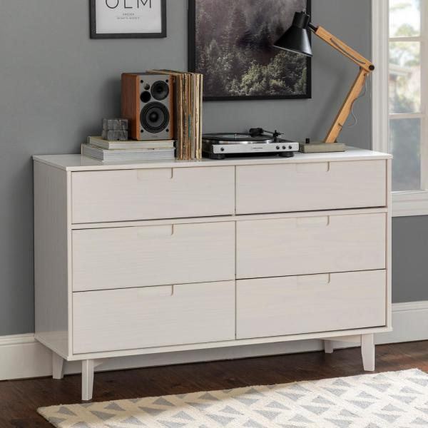 6-Drawer White Groove Handle Wood Dresser