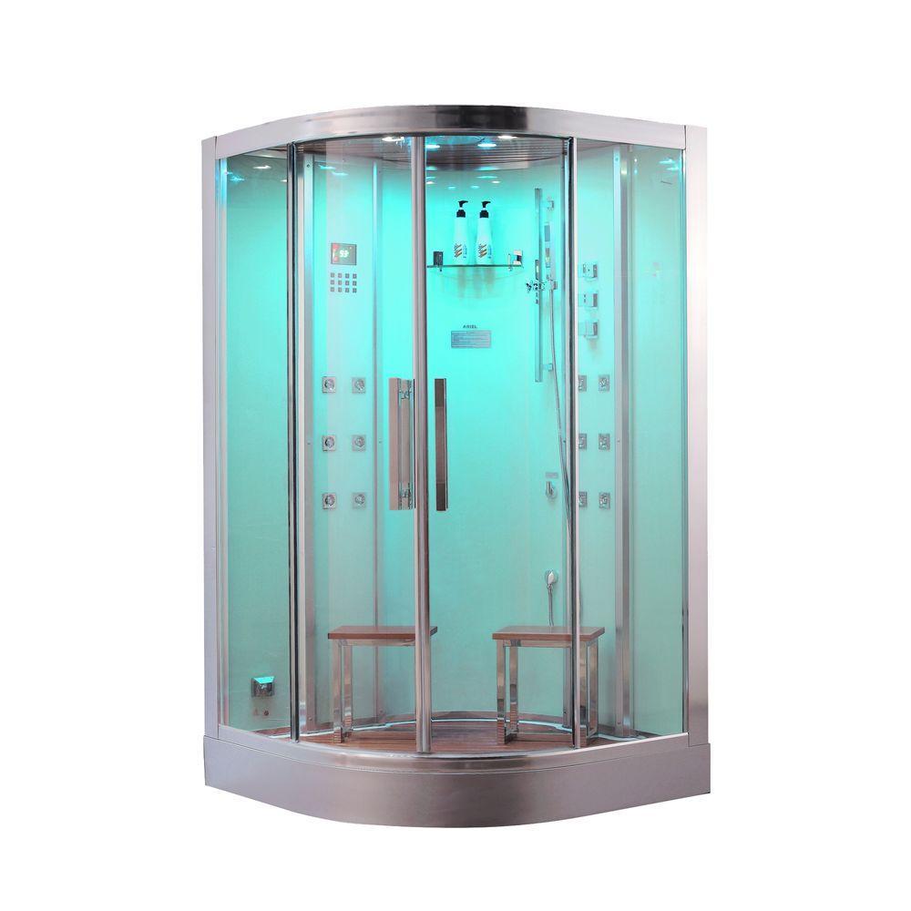 Ariel 47.2 inch x 47.2 inch x 89 inch Steam Shower Enclosure Kit in White by Ariel