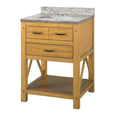 Avondale 25 in. W x 22 in. D Vanity in Weathered Pine with Granite Vanity Top in Santa Cecilia with White Sink