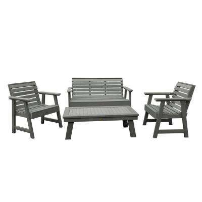 Weatherly Coastal Teak 4-Piece Recycled Plastic Outdoor Conversation Set