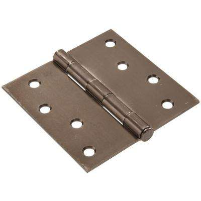 4 in. Pewter Residential Door Hinge with Square Corner Removable Pin Full Mortise (9-Pack)
