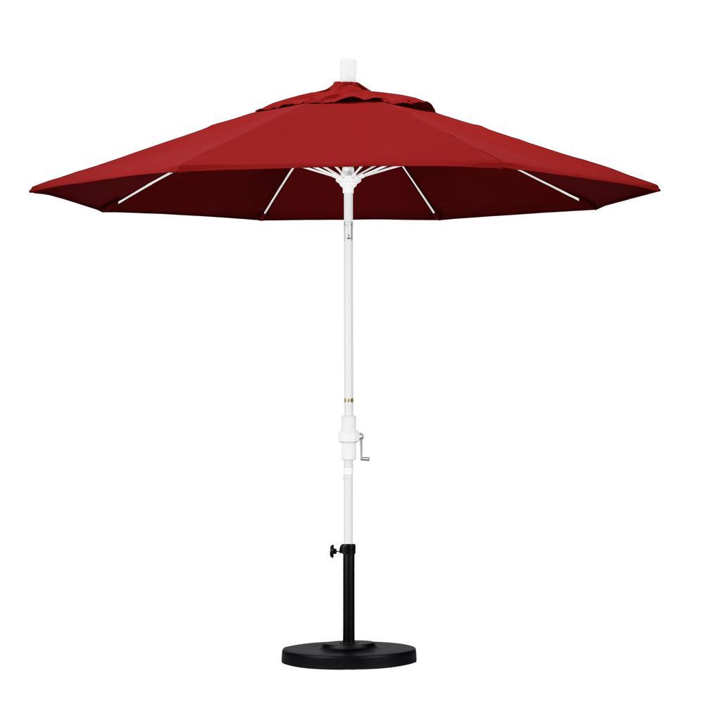 California Umbrella 9 Ft Fiberglass Collar Tilt Patio Umbrella In Red Pacifica Gscuf908170 Sa03 The Home Depot