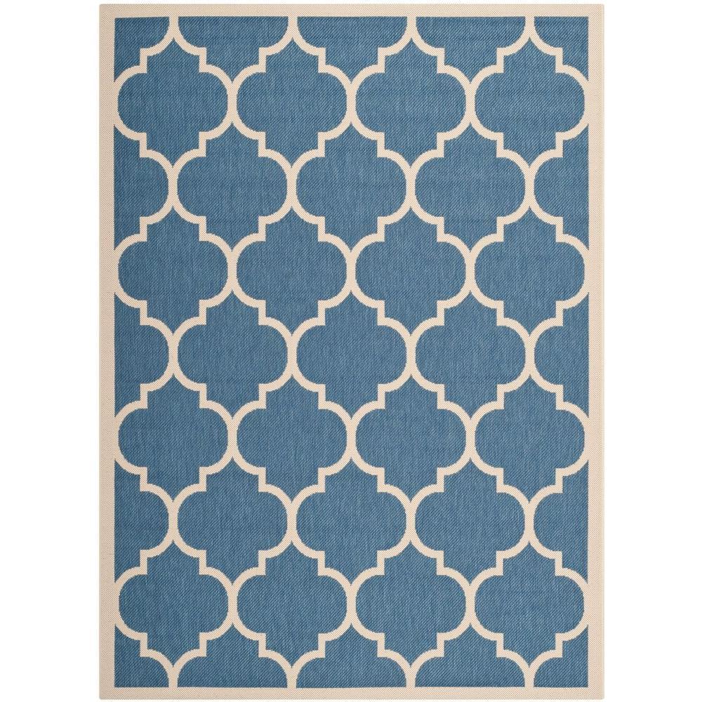 Safavieh Courtyard Blue/Beige 8 ft. x 11 ft. Indoor/Outdoor Area Rug