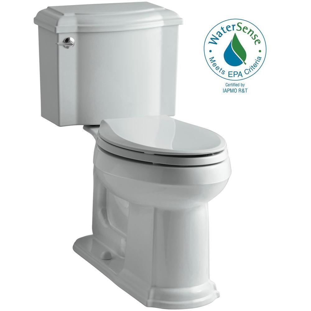 KOHLER Devonshire 2-piece 1.28 GPF Elongated Toilet with AquaPiston Flush Technology in Ice Grey