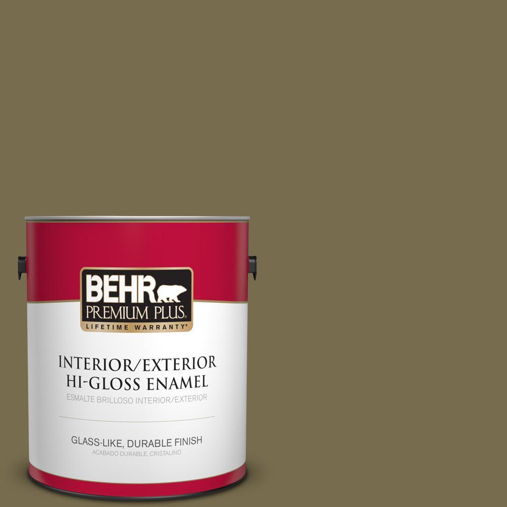1 gal. #PPU8-01 Olive Hi-Gloss Enamel Interior/Exterior Paint