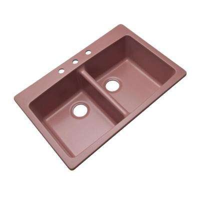 Waterbrook Dual Mount Composite Granite 33 in. 3-Hole Double Bowl Kitchen Sink in Coral Rose