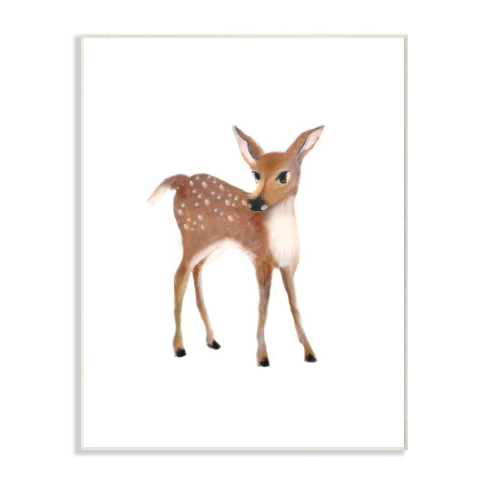 "10 in. x 15 in. ""Baby Deer Illustration"" by Studio Q Printed Wood Wall Art"