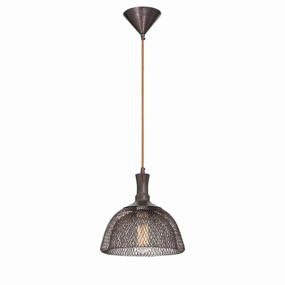 Home Decorators Collection 1-Light Double Frame Bronze Pendant with Caged Metal Shade