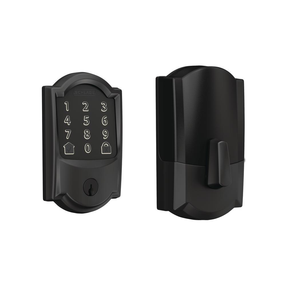 Camelot Matte Black Encode Smart Wi-Fi Door Lock with Alarm