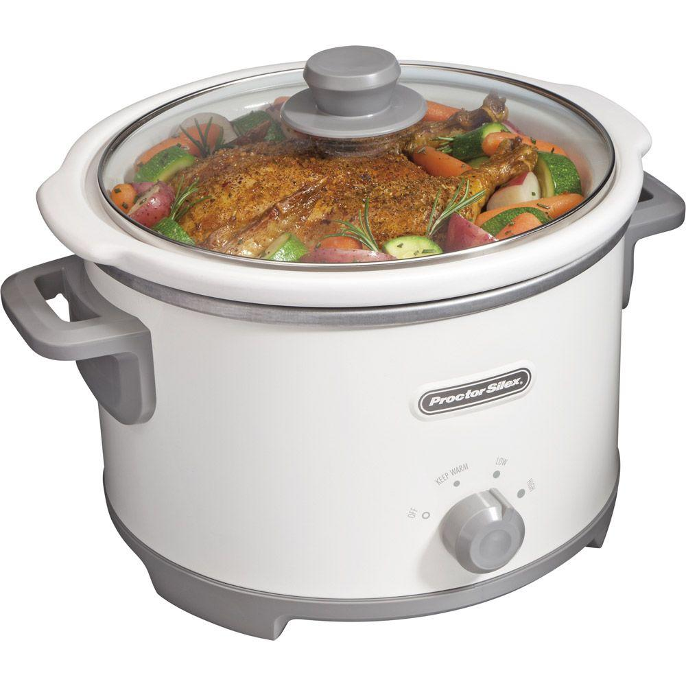 Proctor Silex 4 qt. Slow Cooker in White-DISCONTINUED