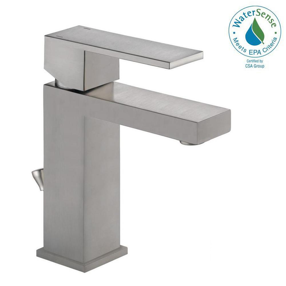 Delta Modern Single Hole Single Handle Bathroom Faucet In Stainless