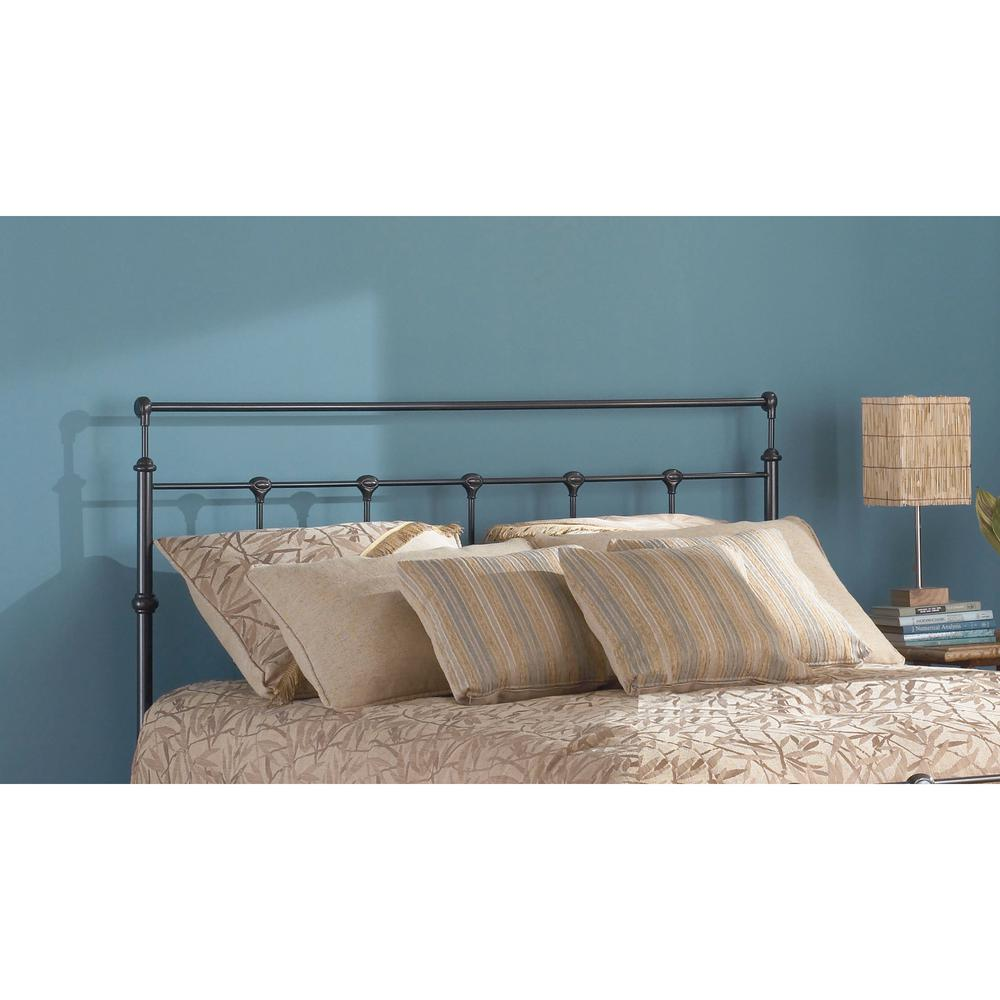 Fashion bed group winslow california king size metal headboard with rounded posts and aluminum castings