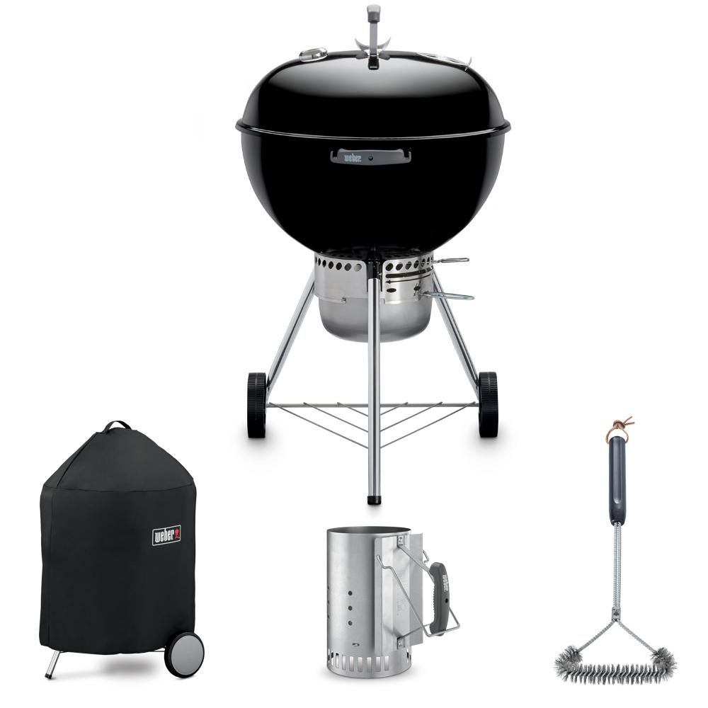 Bbq Starter Weber.Weber Original Premium 22 Kettle Grill Combo With Grill Brush Cover And Chimney Charcoal Starter