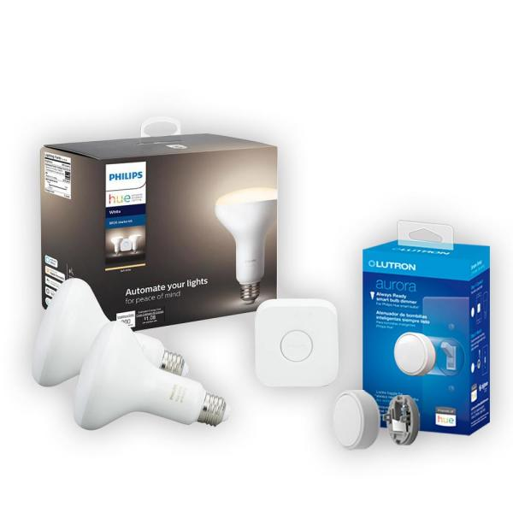 Lutron 65-Watt Equivalent Philips Hue BR30 Dimmable Smart Wireless Lighting Starter Kit and Lutron Aurora Smart Bulb Dimmer