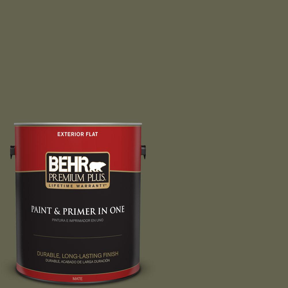 1-gal. #N350-7 Russian Olive Flat Exterior Paint