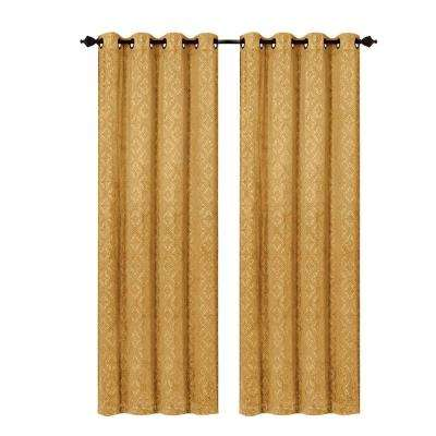 Semi-Opaque Matine Trellis Extra Wide Gold Embossed Velvet Grommet Curtain Panel - 54 in. W x 84 in. L