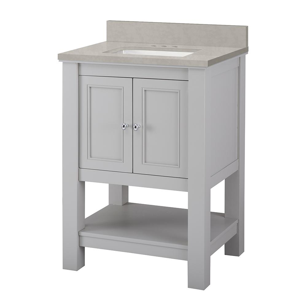 Home Decorators Collection Gazette 25 in. W x 22 in. D Vanity Cabinet in Grey with Engineered Marble Vanity Top in Dunescape with White Sink