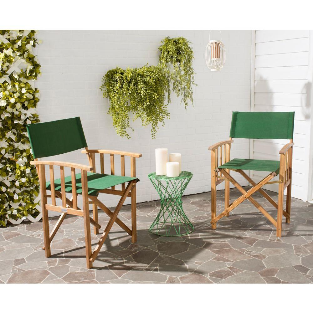 Safavieh Laguna Teak And Green Folding Director S Chair Set Of 2 Pat7004b Set2 The Home Depot