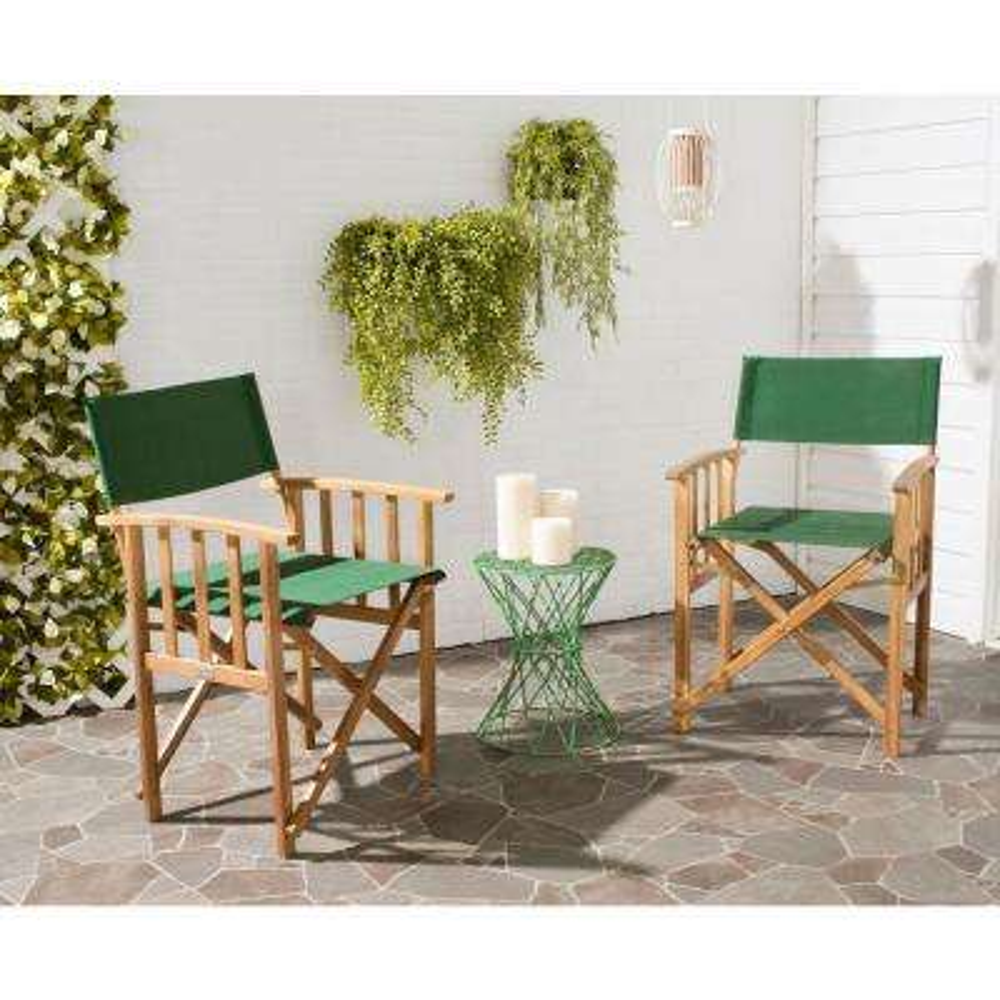 Laguna Teak and Green Folding Director's Chair (Set of 2)