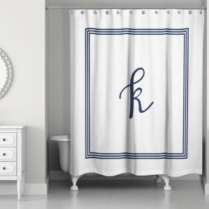 DESIGNS DIRECT 71 inch W x 74 inch L Navy Blue and White Letter K Monogrammed Fabric... by DESIGNS DIRECT