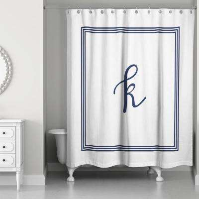 71 in. W x 74 in. L Navy Blue and White Letter K Monogrammed Fabric Shower Curtain