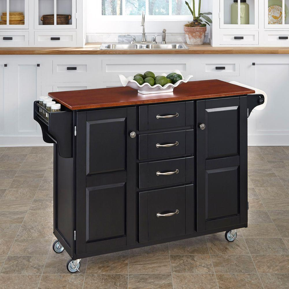 Home Depot Kitchen Island: Home Styles Grand Torino Black Kitchen Island With Seating