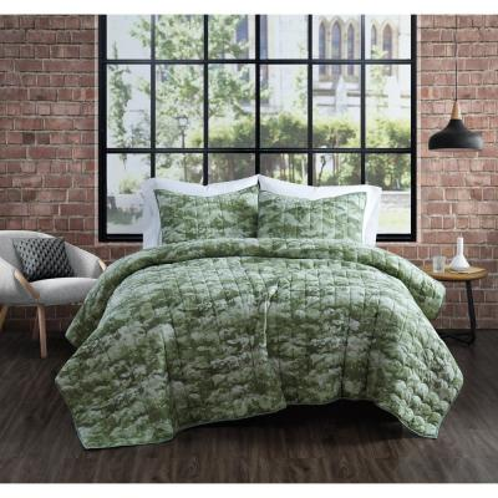 Sahara Green Cotton 3-Piece Full/Queen Quilt Set