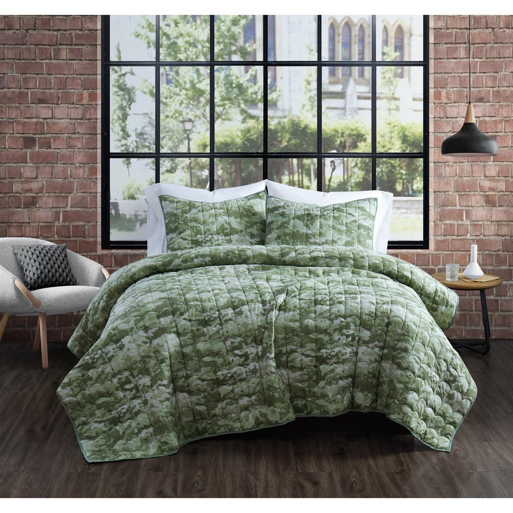 Sahara Green Cotton 3-Piece King Quilt Set