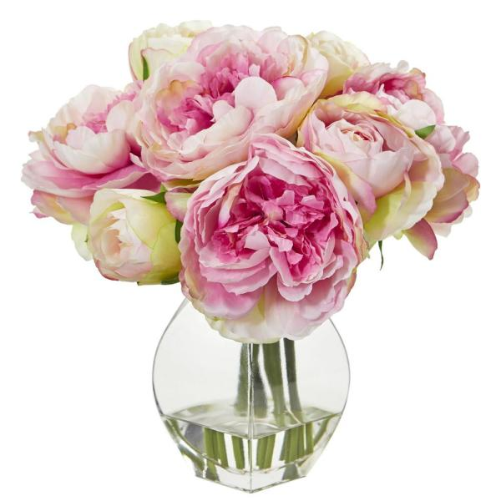 Nearly Natural Indoor Peony Artificial Arrangement in Vase