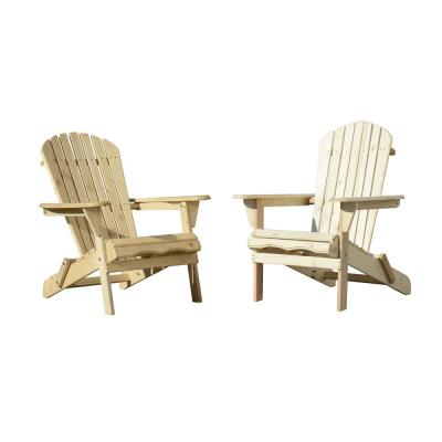 Classic Natural Folding Wood Oceanic Adirondack Chair (2-Pack)