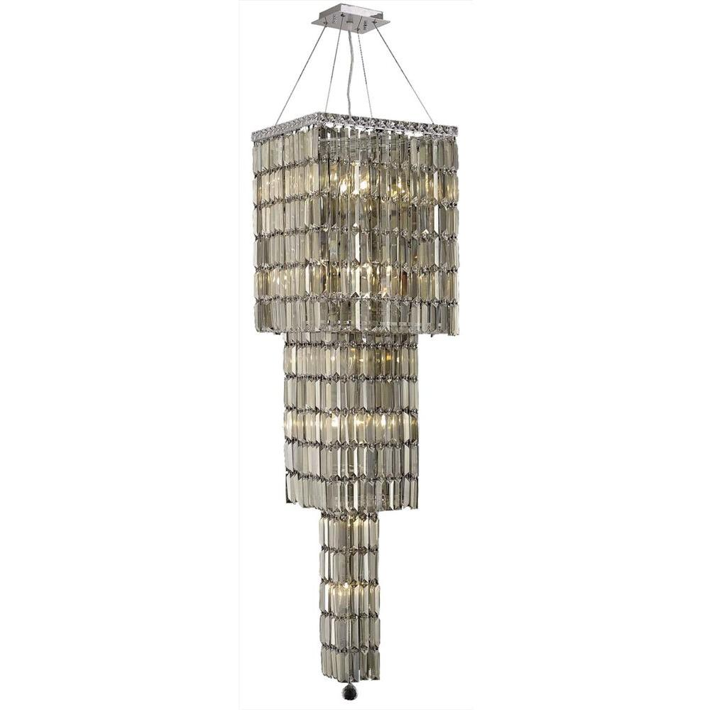 14-Light Chrome Chandelier with Golden Teak Smoky Crystal