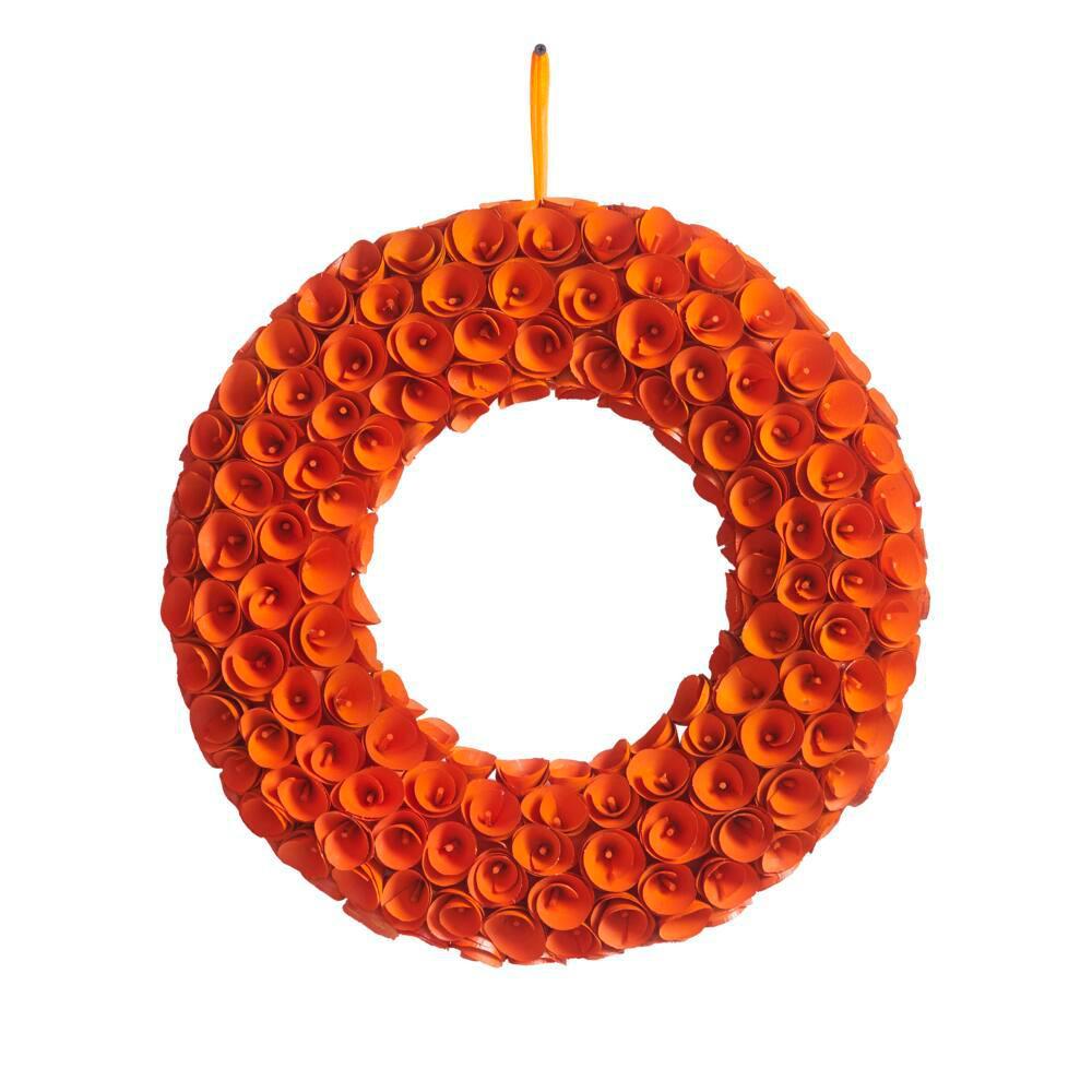 22 in. Orange Wood Curl Fall Wreath
