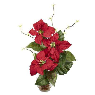 20.0 in. H Red Poinsettia with Fluted Vase Silk Flower Arrangement