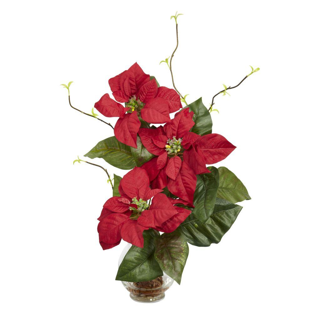 Nearly Natural 20.0 in. H Red Poinsettia with Fluted Vase Silk Flower Arrangement Nearly Natural 20.0 in. H Red Poinsettia with Fluted Vase Silk Flower Arrangement