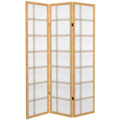 6 ft. Natural Canvas Double Cross 3-Panel Room Divider