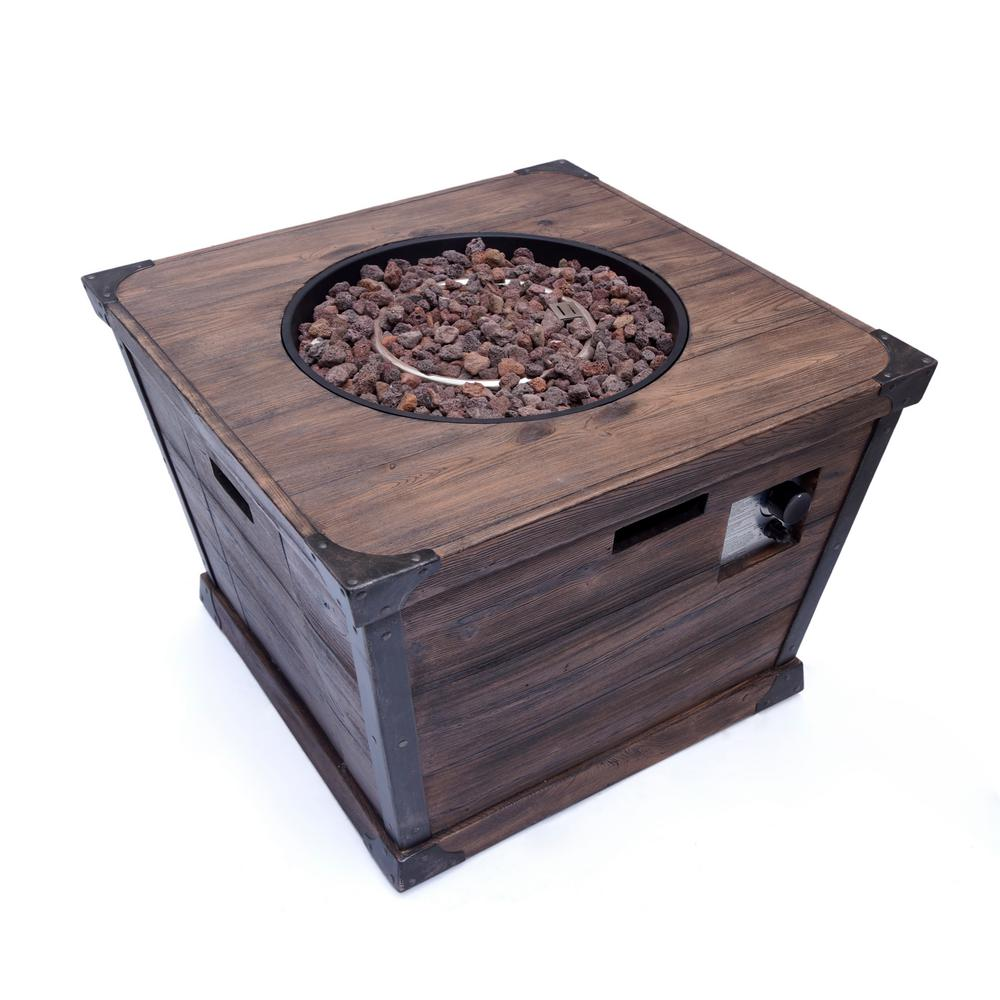 Noble House Serena 32 in. x 24 in. Square MGO Propane Fire Pit in Brown
