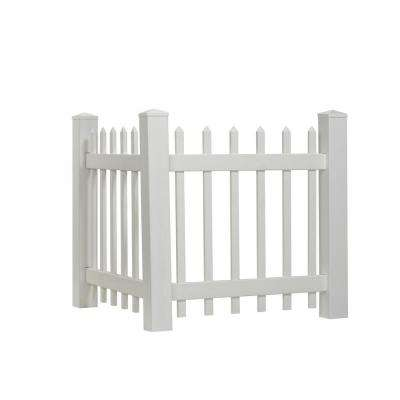 3.5 ft. H x 3 ft. W White Vinyl Spaced Picket Corner Accent Fence Panel Kit