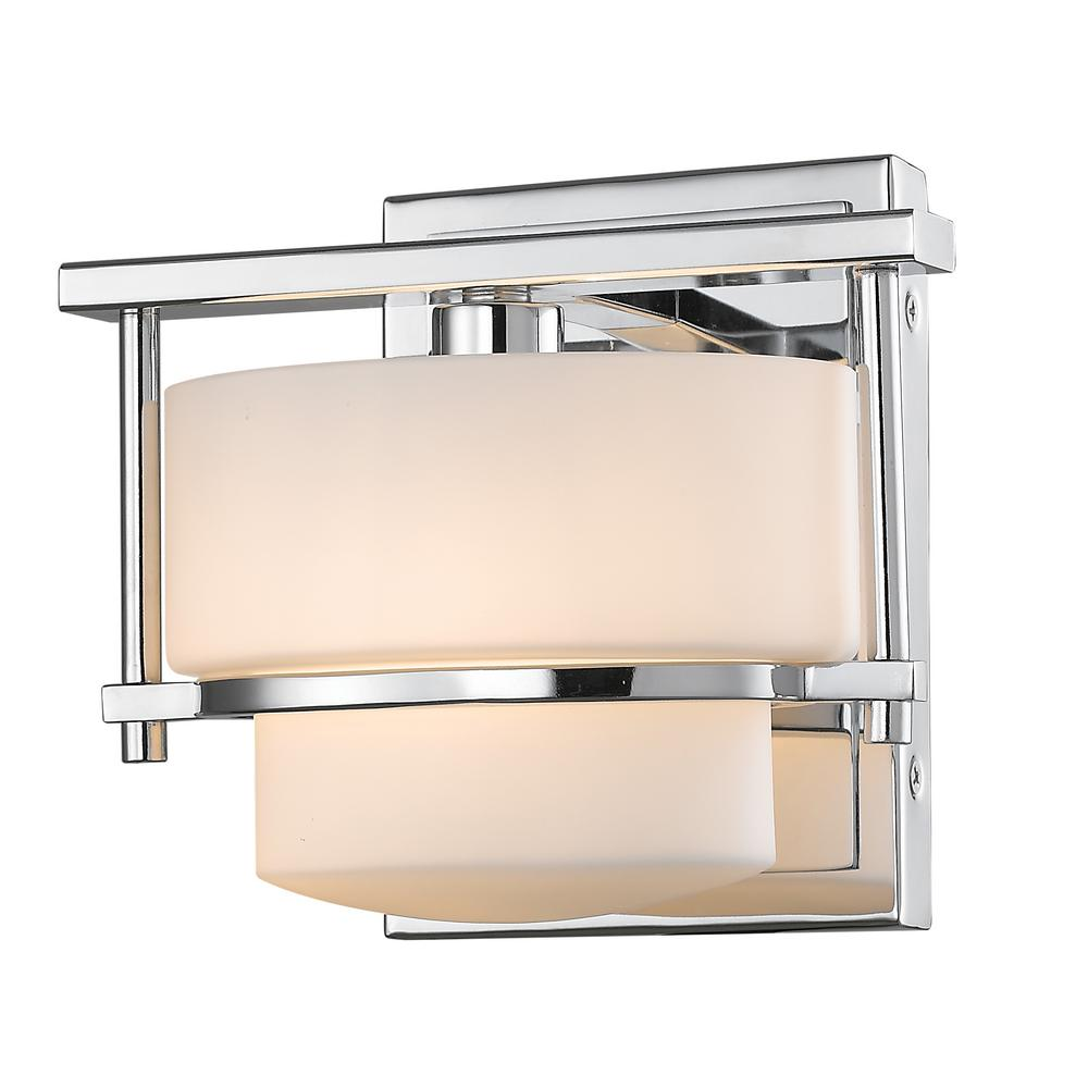 1-Light Chrome Sconce with Matte Opal Glass