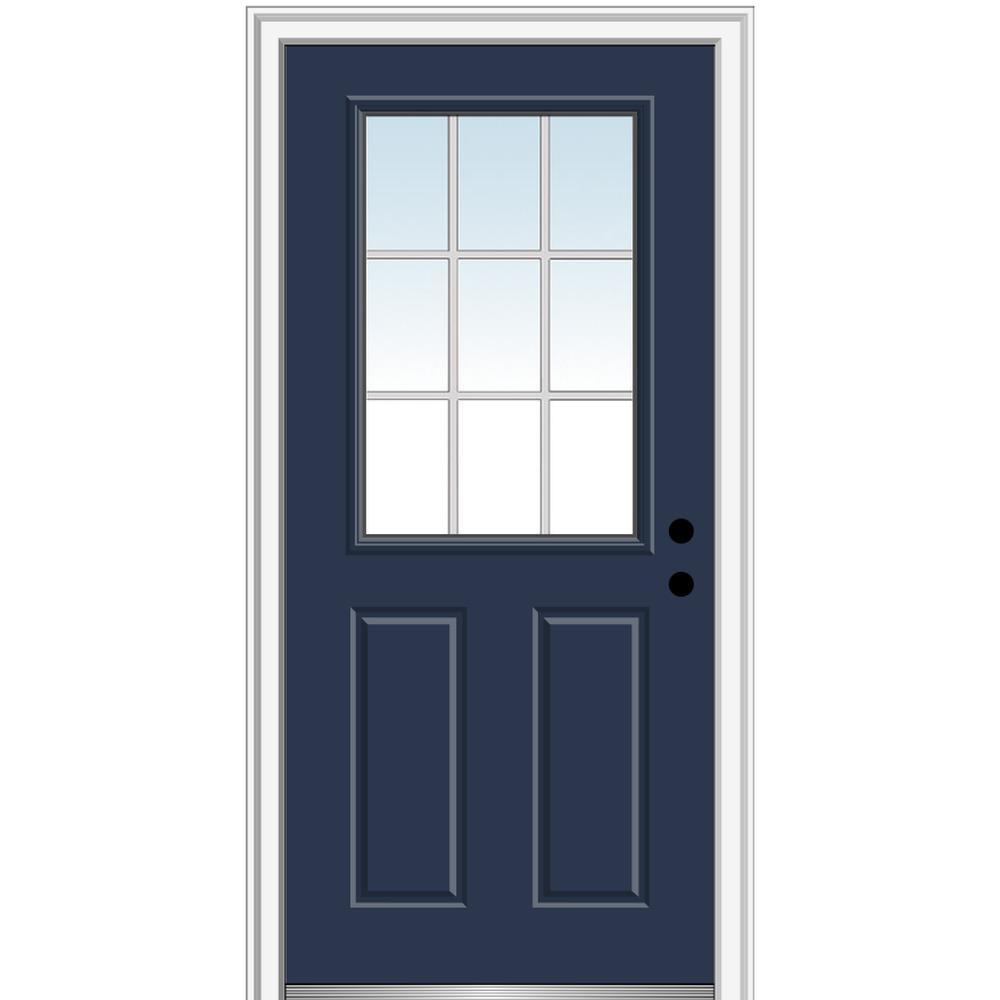 MMI Door 32 in. x 80 in. Grilles Between Glass Left-Hand Inswing 1/2-Lite Clear 2-Panel Painted Steel Prehung Front Door